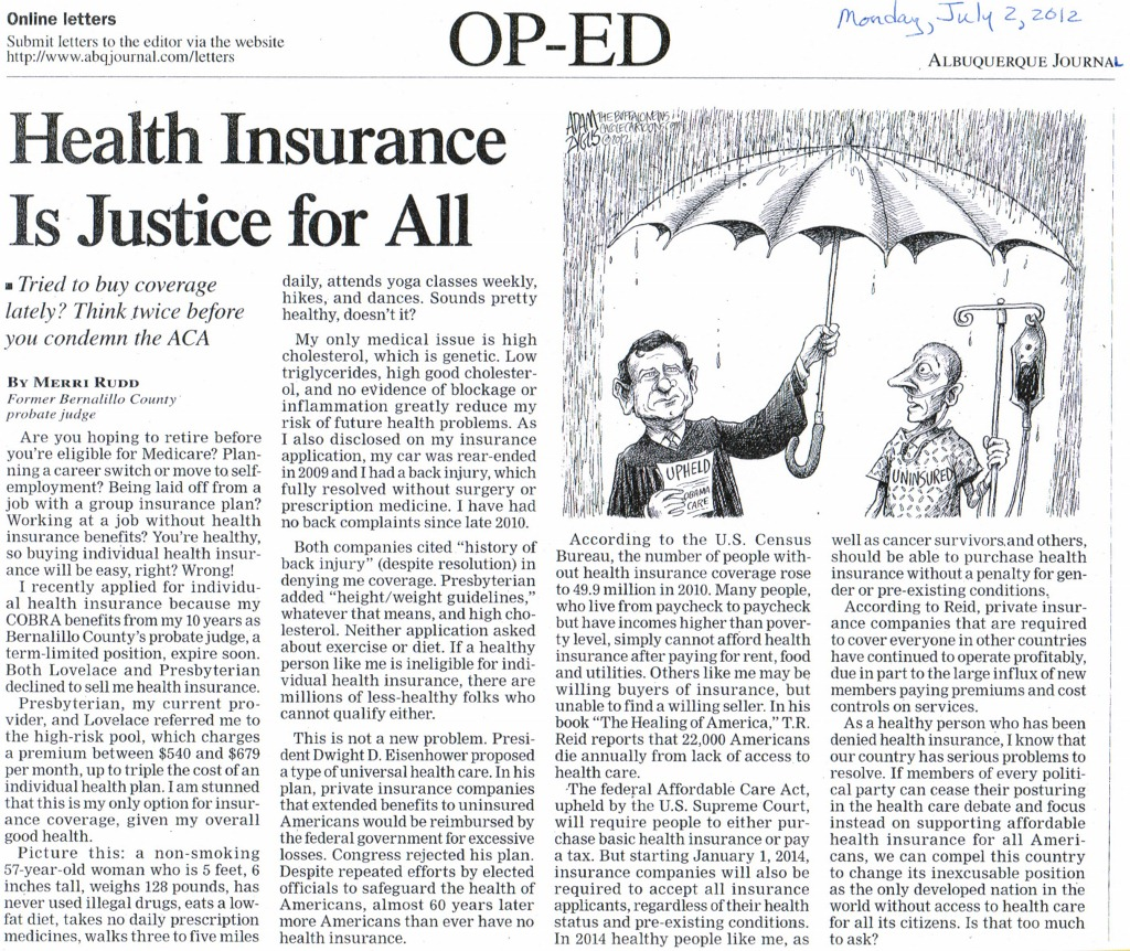 Health Insurance Is Justice for All, by Merri Rudd